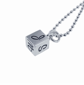 personalized silver cube charm necklace