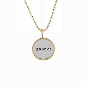 personalized silver disc charm with 14k gold rim