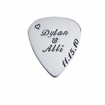 personalized silver guitar pick