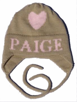 personalized Single Heart Hat with Earflaps