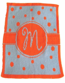 personalized single initial polka dot baby blanket