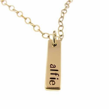 personalized small gold flat bar necklace