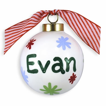 personalized snowflake ball ornament  (boys)