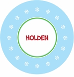 personalized snowflake holiday plate (style 2p)
