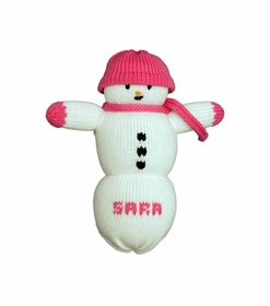 personalized snowman doll-pink hat