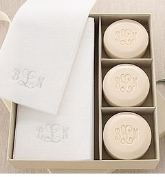 personalized soap and towel set (courtesy gift set)
