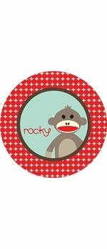 personalized sock monkey boy plate (style 2p)