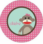 personalized sock monkey plate(style 1p)