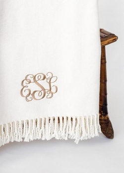 personalized solid fringed throw blanket<br> (several colors available)