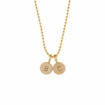 personalized solid gold micro charm necklace