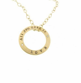 personalized solid gold washer necklace