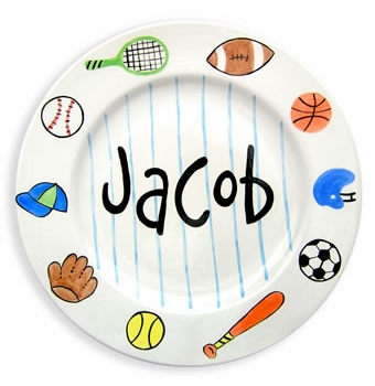 personalized sports baby plate