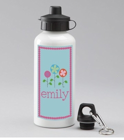 personalized spring flowers water bottle