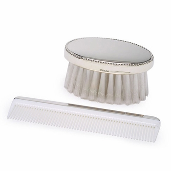 personalized sterling silver boy's brush and comb set