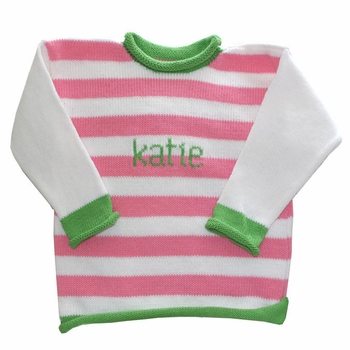 personalized stripe name sweater