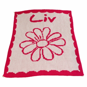 personalized stroller blanket with name, flower and scalloped edge