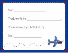 personalized thank you notes - airplane fill-in thank you