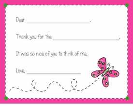 personalized thank you notes - butterfly fill-in thank you