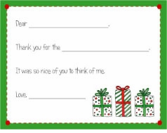 personalized thank you notes - christmas fill-in thank you