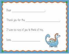 personalized thank you notes - dinosaur fill-in thank you