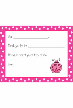 personalized thank you notes – ladybug  fill-in thank you