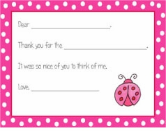 personalized thank you notes � ladybug  fill-in thank you