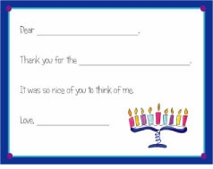 personalized thank you notes - menorah fill-in thank you