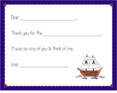 personalized thank you notes � pirate fill-in thank you