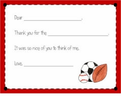 personalized thank you notes � sports fan fill-in thank you