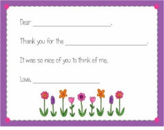personalized thank you notes � wild flowers fill-in thank you