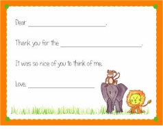 personalized thank you notes � zoo friends fill-in thank you