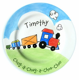 personalized train baby plate