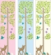 personalized tree with animals canvas growth chart