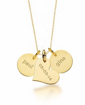 personalized two circle & heart necklace 24k gold plated