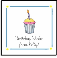personalized vinyl labels � birthday cupcake