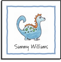 personalized vinyl labels � blue dinosaur