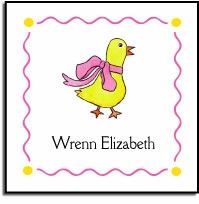 personalized vinyl labels � duckling in pink