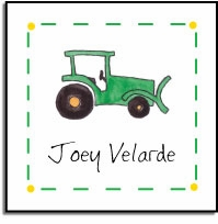 personalized vinyl labels � green tractor