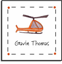 personalized vinyl labels � helicopter