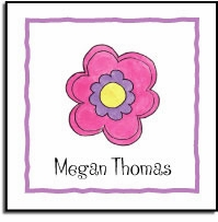 personalized vinyl labels � pink daisy