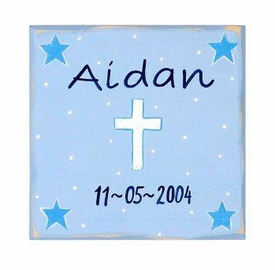personalized wall art - blue cross