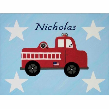 personalized wall art fire truck