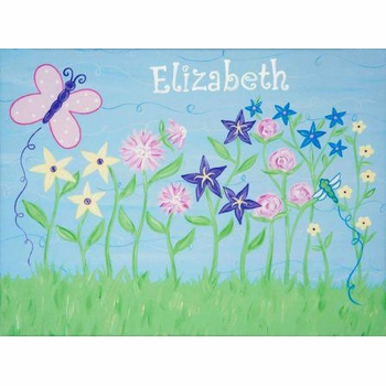 personalized wall art patch of posies