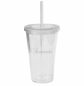 personalized walled tumbler with straw (unbreakable)