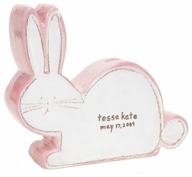 personalized white bunny coin bank