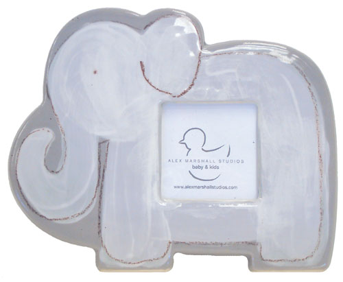 personalized white elephant ceramic frame