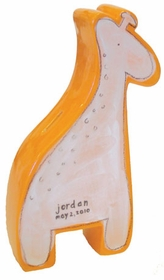 personalized white giraffe coin bank
