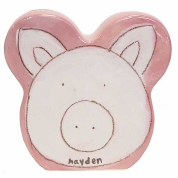 personalized white pig coin bank