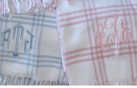personalized windowpane check blanket