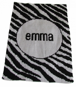 personalized zebra stripe stroller blanket